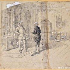 Arte: JOSEP LLUIS PELLICER FENYÉ- ILUSTRACIÓN ORIGINAL - LIBRO -ÁNGEL DE SAAVEDRA, DUQUE DE RIVAS-1884-85. Lote 155768414