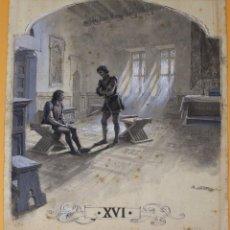 Arte: JOSEP LLUIS PELLICER FENYÉ- ILUSTRACIÓN O BOCETO ORIGINAL PARA LIBRO-( 1842-1901). Lote 155793886