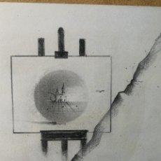 Arte: PRECIOSO DIBUJO PINTOR FRANCESC FERRET FARRERAS-BRUNO, FIRMADO Y DEDICADO,(SITGES)1984. 21X15CM.. Lote 155799818