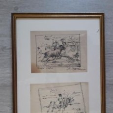 Arte: DOS DIBUJOS A PLUMILLA TAURINOS ENMARCADAS 1929. Lote 155809474