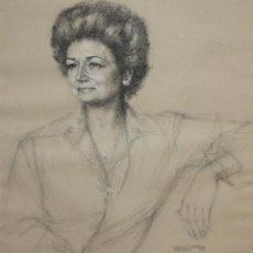 Arte: FIRMADO R. DE LA CUESTA Y FECHADO DEL AÑO 1974. DIBUJO A CARBON. RETRATO FEMENINO. Lote 118539031