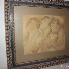 Arte: DIBUJO A LAPIZ DEL PINTOR CANARIO FRANCISCO BORGES SALAS, DE 36 X 28 CMS. VER FOTOS. Lote 156375890