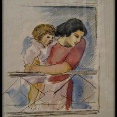 Arte: ACUARELA/DIBUJO SOBRE PAPEL DE E. C. RICART. MUJER CON NIÑO EN EL BALCÓN. 1952. FIRMADO. Lote 125049735