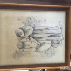 Arte: DIBUJO CARBONCILLO Y 2 FIGURAS BARRO DE L. CHERBUY. Lote 156551778