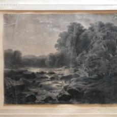 Arte: PINTURA CATALANA. PAISAJE, ORIGINAL ACUARELA FIRMADA LR, LLUIS RIGALT, (BARCELONA 1814-1894). Lote 156583110