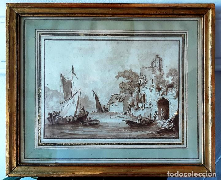 DIBUJO HOLANDÉS DEL SIGLO XVIII. TINTA SOBRE PAPEL. ESCENA PORTUARIA (Arte - Dibujos - Antiguos hasta el siglo XVIII)