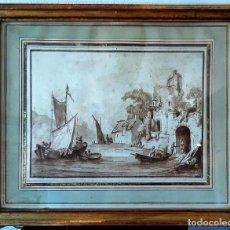 Arte: DIBUJO HOLANDÉS DEL SIGLO XVIII. TINTA SOBRE PAPEL. ESCENA PORTUARIA. Lote 156676414
