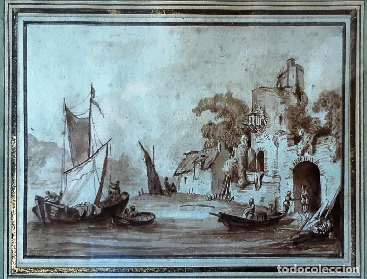 Arte: Dibujo holandés del siglo XVIII. Tinta sobre papel. Escena portuaria - Foto 2 - 156676414