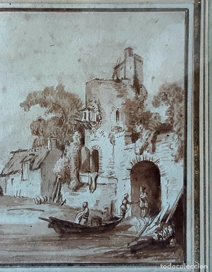 Arte: Dibujo holandés del siglo XVIII. Tinta sobre papel. Escena portuaria - Foto 3 - 156676414