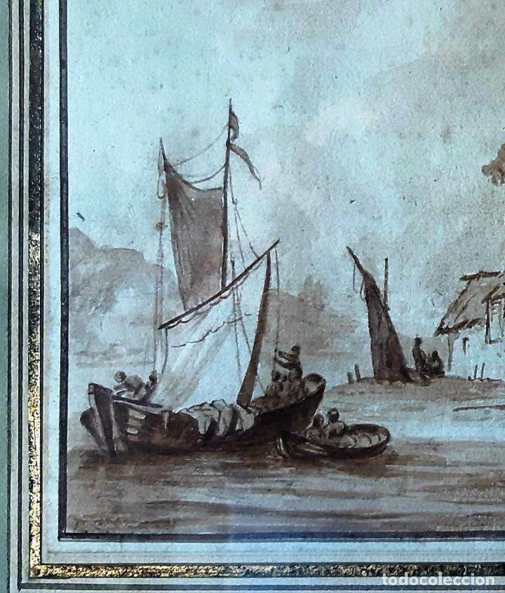 Arte: Dibujo holandés del siglo XVIII. Tinta sobre papel. Escena portuaria - Foto 4 - 156676414