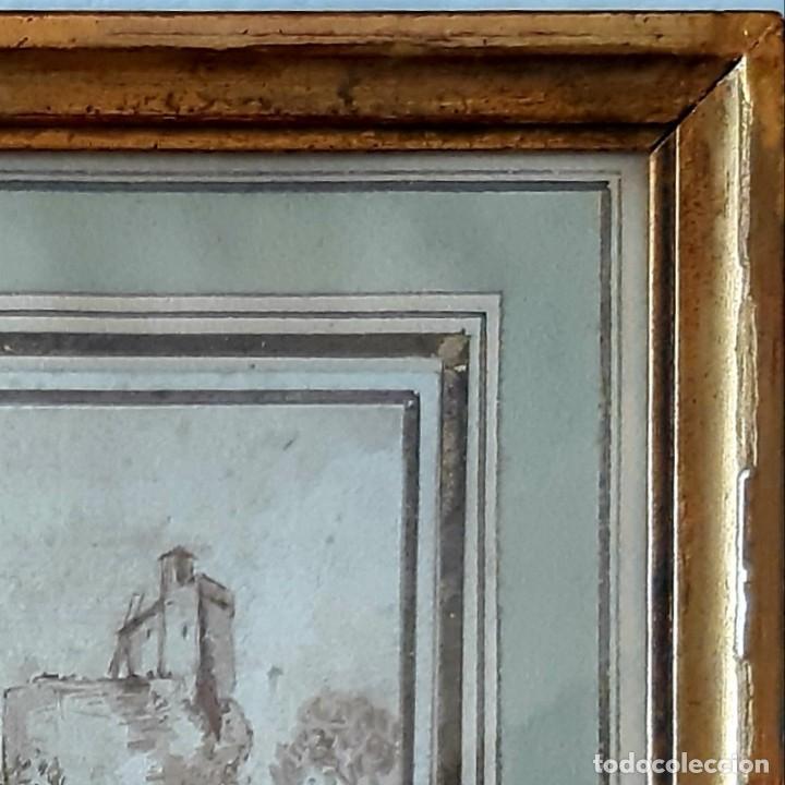 Arte: Dibujo holandés del siglo XVIII. Tinta sobre papel. Escena portuaria - Foto 5 - 156676414
