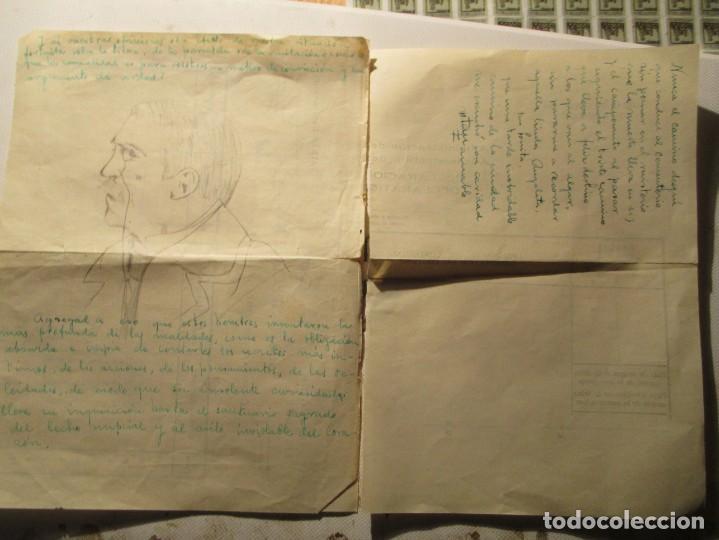 ANTIGUO DIBUJO EN CARTA RETRATO CABALLERO A LAPIZ DESCONOZCO EL PINTOR (Arte - Dibujos - Contemporáneos siglo XX)