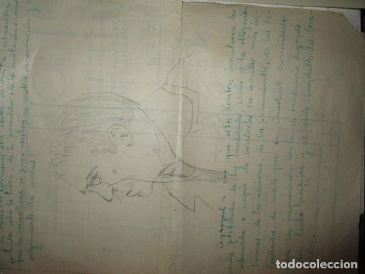 Arte: ANTIGUO DIBUJO EN CARTA RETRATO CABALLERO A LAPIZ DESCONOZCO EL PINTOR - Foto 2 - 156682094