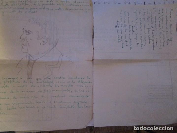 Arte: ANTIGUO DIBUJO EN CARTA RETRATO CABALLERO A LAPIZ DESCONOZCO EL PINTOR - Foto 3 - 156682094