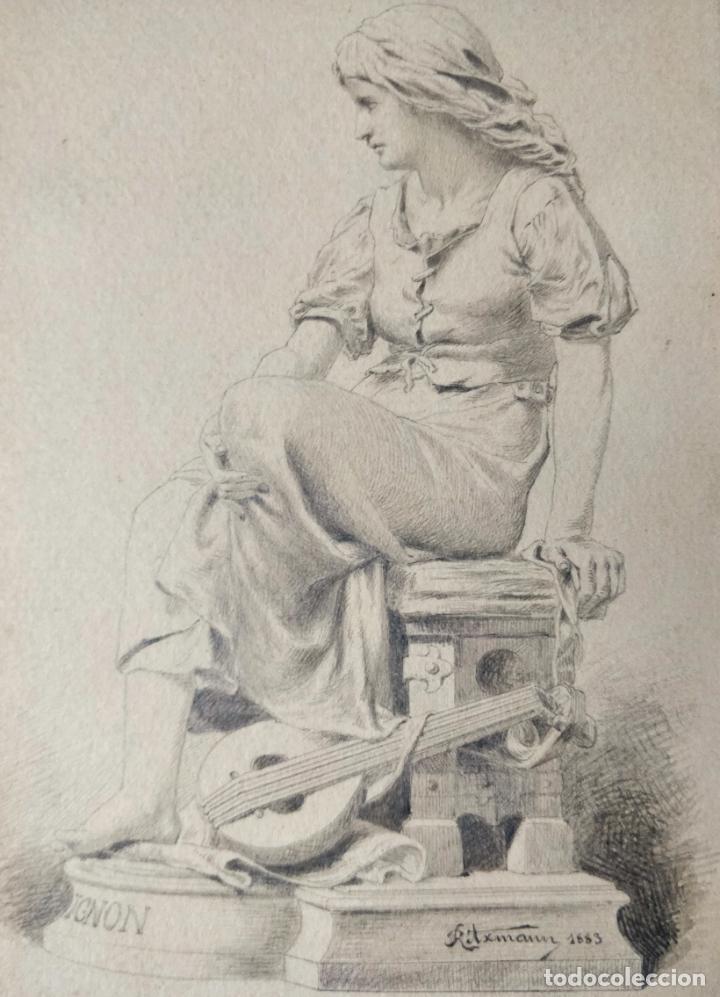 IMPORTANTE DIBUJO ORIGINAL A LAPIZ FIRMADO Y FECHADO RITXMANN 1883, EXCELENTE CALIDAD (Arte - Dibujos - Modernos siglo XIX)