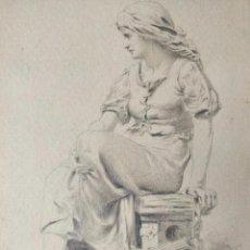 Arte: IMPORTANTE DIBUJO ORIGINAL A LAPIZ FIRMADO Y FECHADO RITXMANN 1883, EXCELENTE CALIDAD. Lote 156729138
