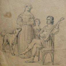Arte: MAGISTRAL DIBUJO ORIGINAL DEL IMPORTANTE PINTOR Y GRABADOR GUSTAV SCHLICK, CIRCA 1830, GRAN CALIDAD. Lote 156730106