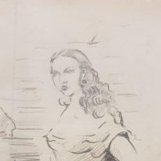 Arte: PINTURA DIBUJO DEL PINTOR JOAQUIN CALDENTEY SALABERRI CONOCIDO POR QUINITO. Lote 156919666