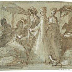Arte: DIBUJO A TINTA AGUADA Y GOUACHE SOBRE PAPEL - ESCENA (SANTA ISABEL DE HUNGRIA VISITA ENFERMOS ?). Lote 156994274