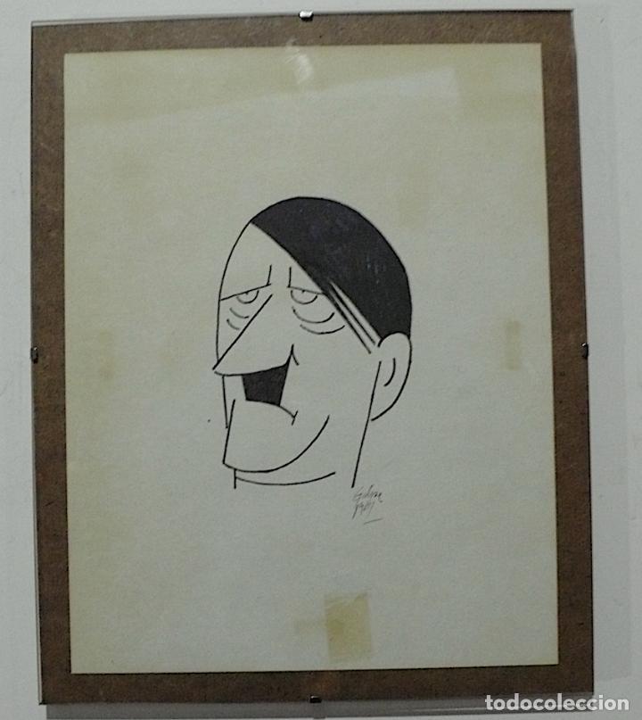DIBUJO ORIGINAL CARICATURA HITLER FIRMADA (Arte - Dibujos - Contemporáneos siglo XX)