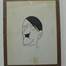 Arte: DIBUJO ORIGINAL CARICATURA HITLER FIRMADA. Lote 157049186