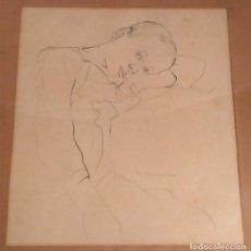 Arte: ADOLESCENTE DIBUJO BOCETO FIRMADO M CASANOVA, AÑOS 40. MED. 34 X 34 CM. Lote 157073246