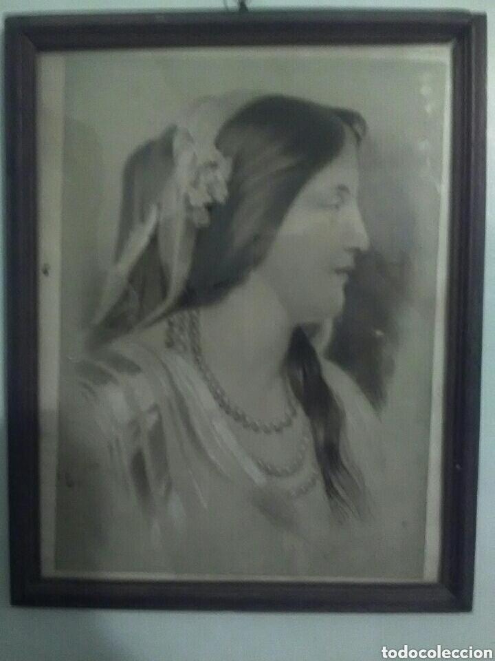 Arte: Dibujo a carbon, del 19, marco original siglo XIX - Foto 2 - 157259213