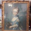 Arte: CUADRO PRINCESA EN PASTELES - ATRIBUIDO JEAN BAPTISTE PERRONNEAU(1659-1743) - S. XVIII - FRANCIA. Lote 157456570