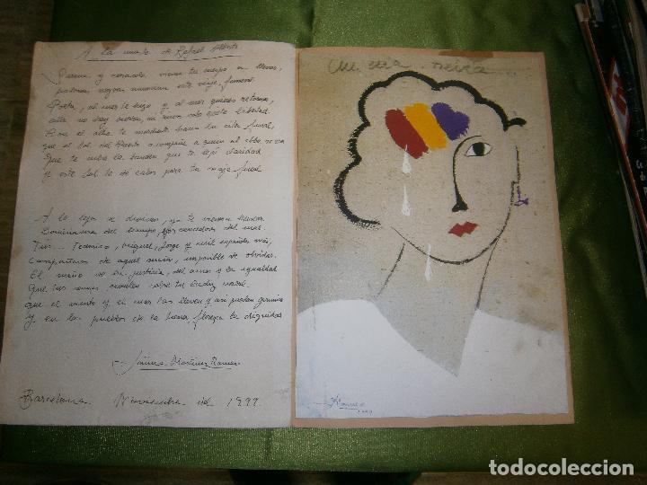 DIBUJO ORIGINAL Y POESIA JAUME MARTINEZ ROMEO DEDICADO A LA MUERTE DE RAFAEL ALBERTI AÑO 1999 (Arte - Dibujos - Contemporáneos siglo XX)