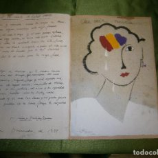 Arte: DIBUJO ORIGINAL Y POESIA JAUME MARTINEZ ROMEO DEDICADO A LA MUERTE DE RAFAEL ALBERTI AÑO 1999. Lote 157650810