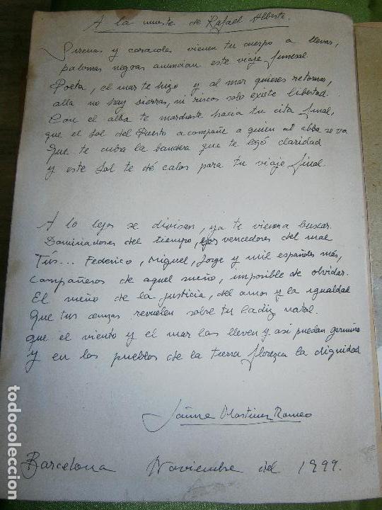 Arte: DIBUJO ORIGINAL Y POESIA JAUME MARTINEZ ROMEO DEDICADO A LA MUERTE DE RAFAEL ALBERTI AÑO 1999 - Foto 2 - 157650810