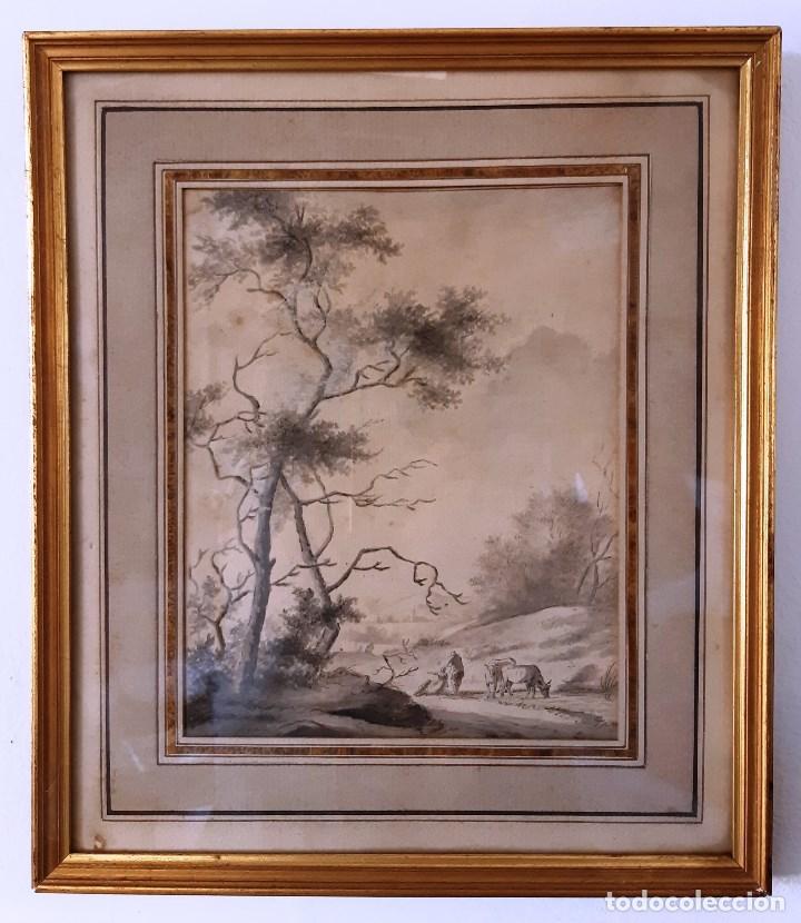 DIBUJO DEL SIGLO XVIII. PAISAJE CON ALDEANOS (Arte - Dibujos - Antiguos hasta el siglo XVIII)
