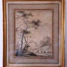 Arte: DIBUJO DEL SIGLO XVIII. PAISAJE CON ALDEANOS. Lote 158080486