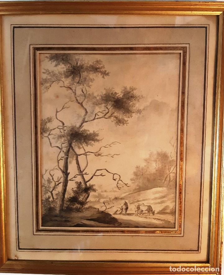 Arte: Dibujo del siglo XVIII. Paisaje con aldeanos - Foto 2 - 158080486