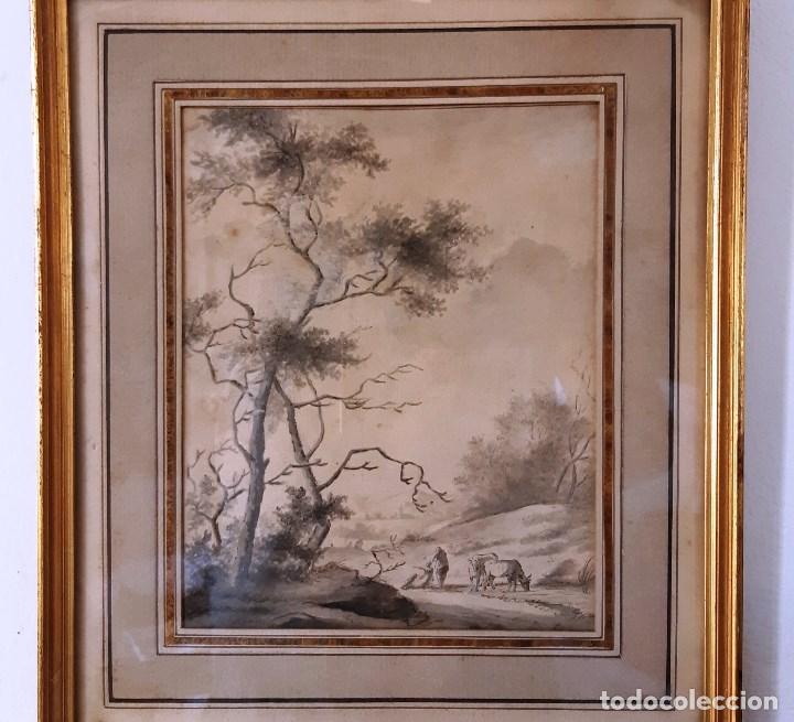 Arte: Dibujo del siglo XVIII. Paisaje con aldeanos - Foto 3 - 158080486