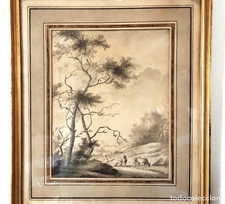 Arte: Dibujo del siglo XVIII. Paisaje con aldeanos - Foto 4 - 158080486