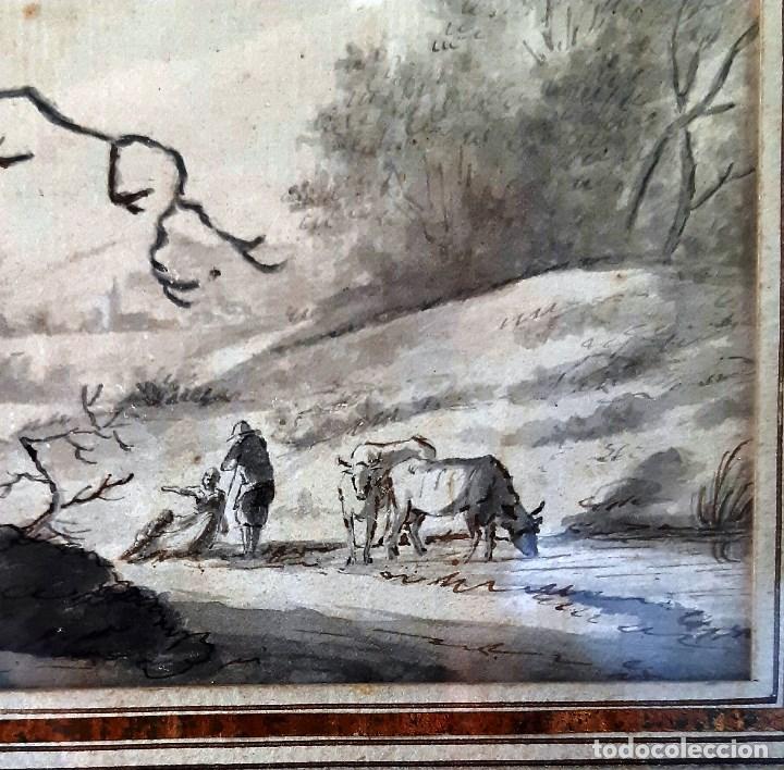 Arte: Dibujo del siglo XVIII. Paisaje con aldeanos - Foto 5 - 158080486
