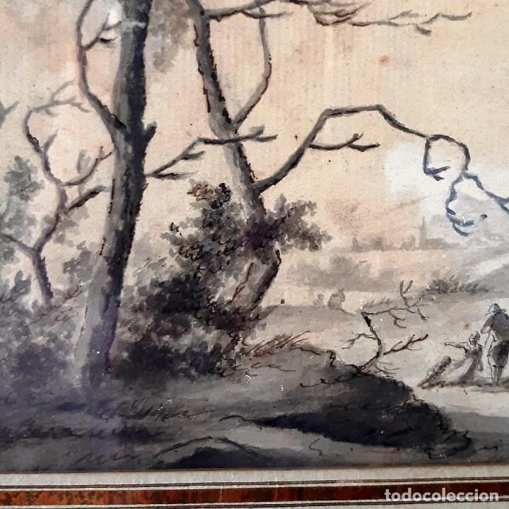 Arte: Dibujo del siglo XVIII. Paisaje con aldeanos - Foto 6 - 158080486