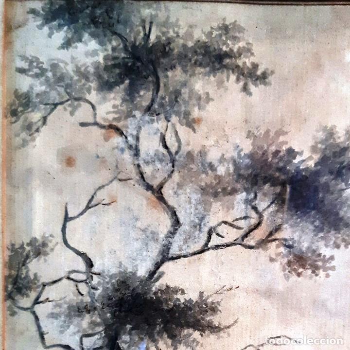 Arte: Dibujo del siglo XVIII. Paisaje con aldeanos - Foto 7 - 158080486