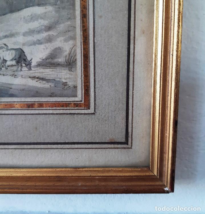 Arte: Dibujo del siglo XVIII. Paisaje con aldeanos - Foto 11 - 158080486