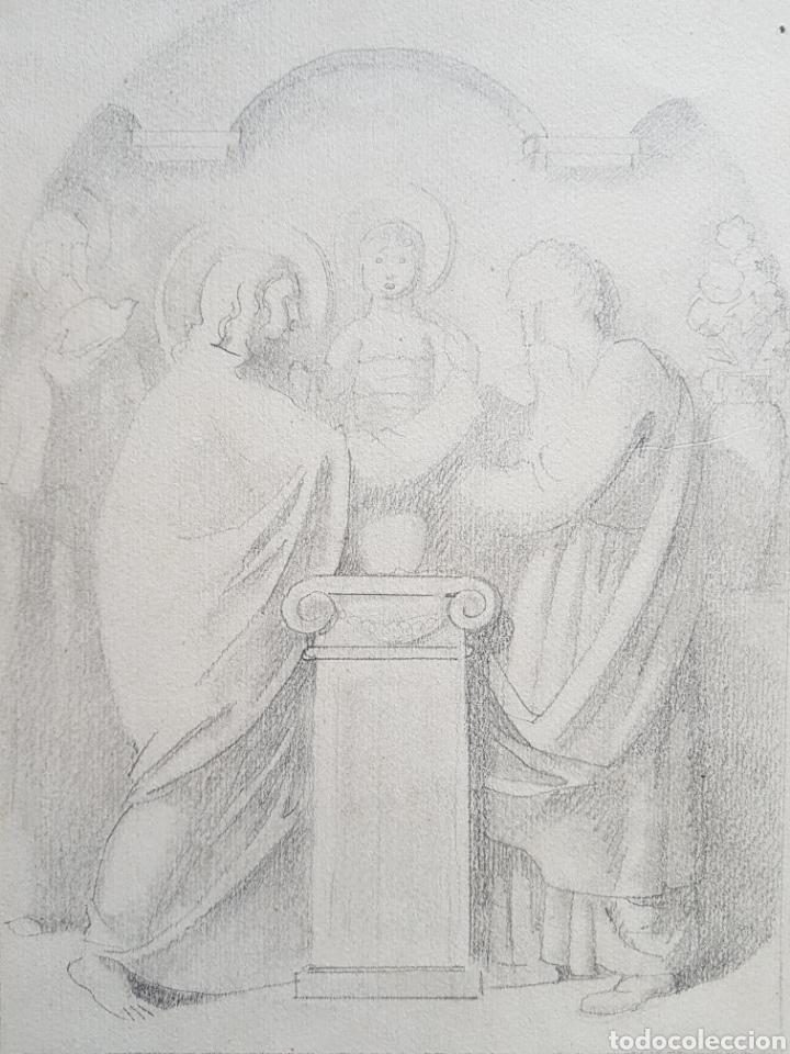 DARIO VILÁS FERNÁNDEZ (1880- 1950) - 2 DIBUJOS RELIGIOSOS.TINTA Y GRAFITI.FIRMADOS. (Arte - Dibujos - Antiguos hasta el siglo XVIII)