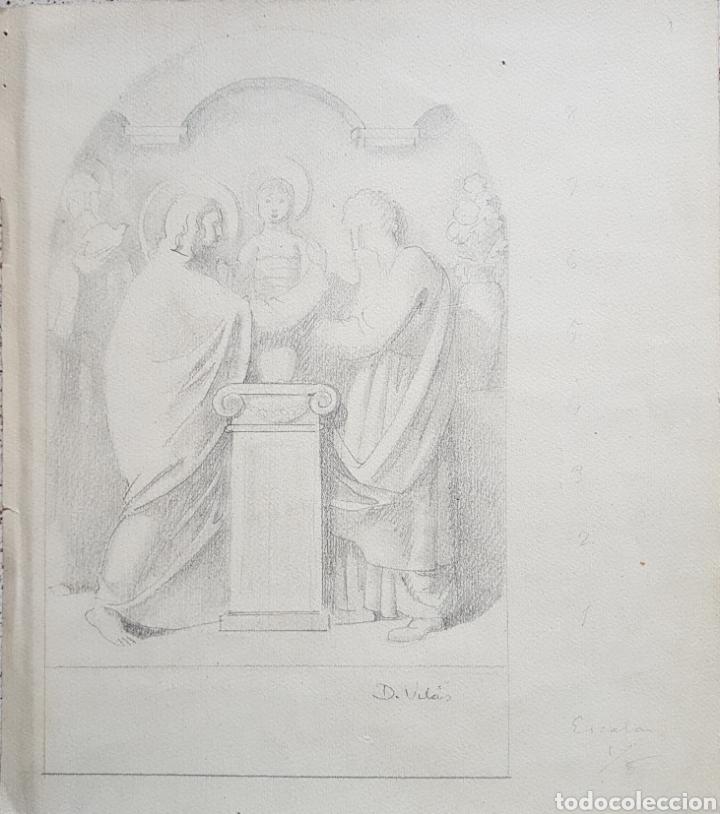 Arte: Dario Vilás Fernández (1880- 1950) - 2 Dibujos Religiosos.Tinta y Grafiti.Firmados. - Foto 2 - 158522858