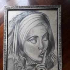 Arte: RETRATO DE MUJER AL CARBONCILLO. FIRMA: L. LAGO. FECHA: 6 DE ENERO DE 1967.. Lote 158677450