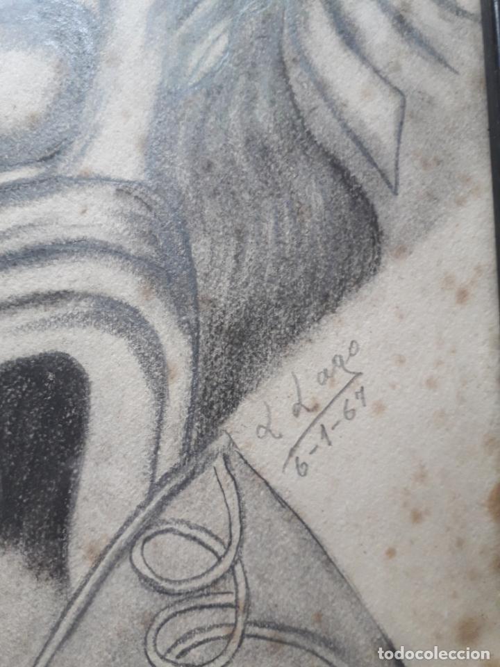 Arte: Retrato de Mujer al Carboncillo. Firma: L. Lago. Fecha: 6 de enero de 1967. - Foto 3 - 158677450