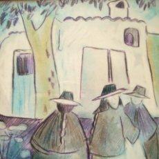 Arte: MIQUEL PLANA I CORCÓ (OLOT, 1943-2012) TÉC MIX/PAPEL 26 X 20 CM. IBICENCAS. FIRMADO.. Lote 158771534