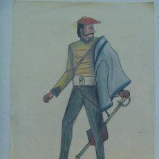 Arte: GUERRA CARLISTA : DIBUJO DE UN OFICIAL CARLISTA DE CABALLERIA CON BOINA.. Lote 158792546