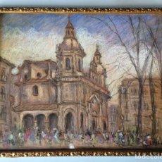 Arte: DIBUJO A PASTEL - IGLESIA DE SAN NICOLÁS - SIGUIENDO MODELOS DE MANUEL LOSADA (BILBAO, 1865-1949) . Lote 158922382