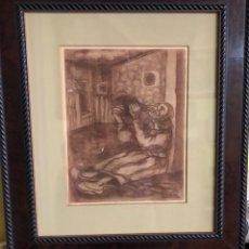 Arte: JOSÉ GUTIÉRREZ SOLANA 1886-1945 DIBUJO A SANGUINA SOBRE CARTÓN MEDIDAS 34X26. Lote 159039274