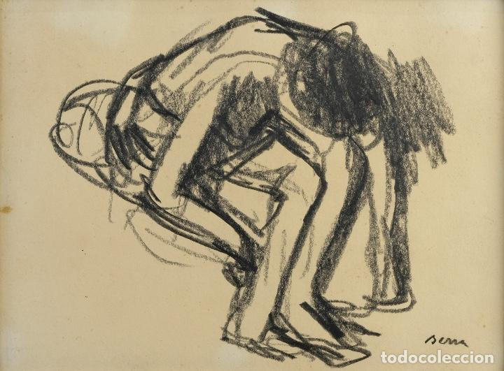 FRANCESC SERRA CASTELLET (1912-1976) DIBUJO AL CARBONCILLO BAILARINA FIRMADO (Arte - Dibujos - Contemporáneos siglo XX)