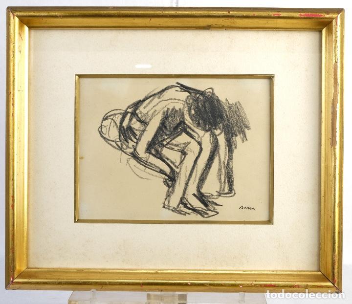 Arte: Francesc Serra Castellet (1912-1976) Dibujo al carboncillo Bailarina firmado - Foto 2 - 159126930